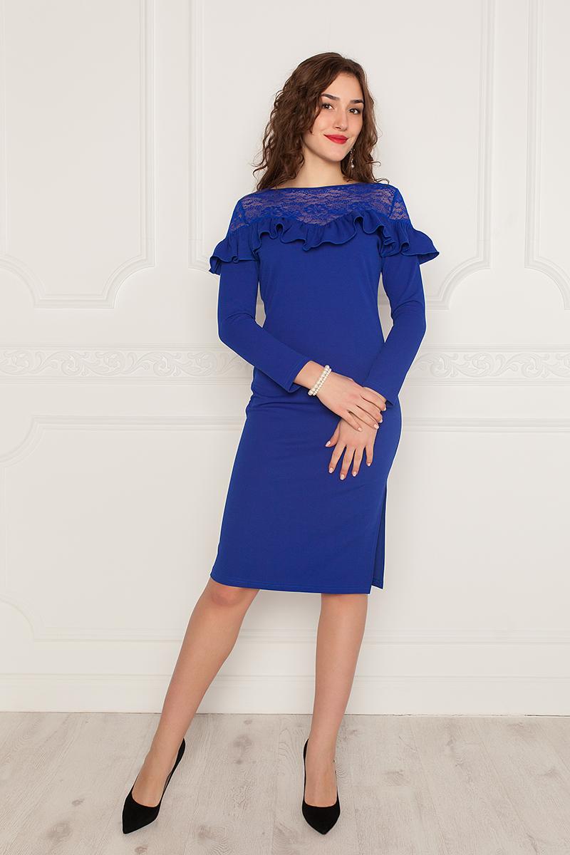 Платье Lautus, цвет: синий. 963. Размер 52963Элегантное платье от Lautus полуприлегающего силуэта изготовлено из крепового трикотажа и ажурного кружева в тон. Длинный втачной рукав по плечу декорирован ажурными кружевными вставками. Вырез горловины лодочка обработан кантом. Перед платья декорирован ажурными кружевными кокетками и присборенным воланом. Боковой шов с одного бока, по низу, дополнен высоким разрезом. Без застежки.