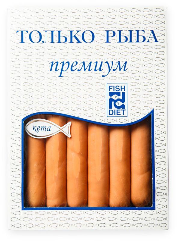 Fish Dieta Сосиски из кеты, 240 г4623720999445Сосиски Fish Dieta из нежного филе кеты, слегка приправленного солью. Отличаются плотной консистенцией и неповторимым вкусом со сливочными нотками. Содержат ненасыщенные жирные кислоты омега-3. Полностью готовы к употреблению. Подходят для диетического и детского питания.Пищевая ценность на 100 г:Углеводы: 1,1 г.Жиры: 8 г.Белки: 16 г.Энергетическая ценность: 140 кКал.