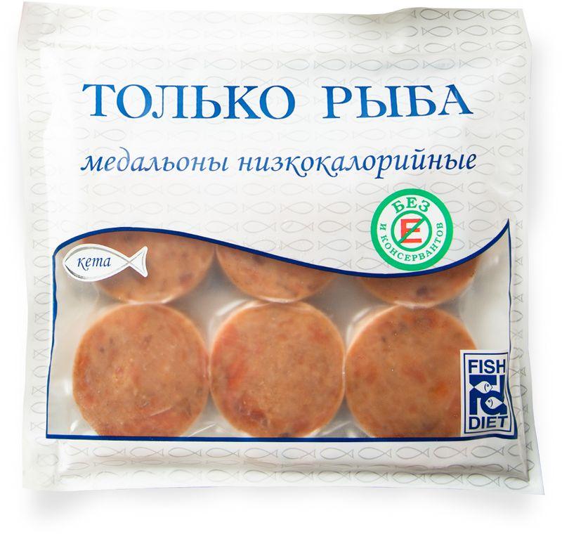 Fish Dieta Медальоны из кеты, 300 г4623721435898Рыбные медальоны Fish Dieta изготовлены из высококачественного филе дальневосточной кеты. Изделия изготавливаются с низким содержанием льда при заморозке и, самое главное, без Е добавок и консервантов.Пищевая ценность на 100 г продукта: белки - 16 г, жиры - 3 г, углеводы - 2 г.