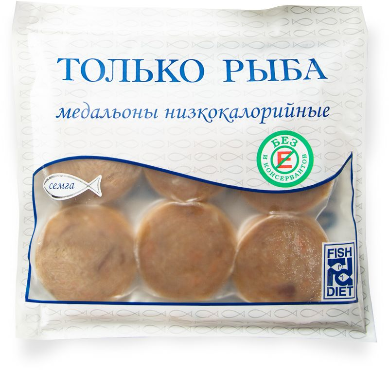 Fish Dieta Медальоны из семги, 300 г4623721601965Медальоны Fish Dieta из семги покупают люди, которые любят полезную еду, но не любят тратить на ее приготовление много времени. Семга содержит витамины А, Е, РР, С, D, Н и группы В. В ней много Омега-3 жирных полиненасыщенных кислот и необходимых нам микроэлементов.В медальонах только рыба, яичный порошок и специи – производитель принципиально не добавляетв фарш сою, крахмал и другие добавки.Вы приготовите медальоны всего за 8 минут и порадуете свою семью натуральным, полезным и очень вкусным блюдом. Отличный вариант для работающих женщин, которые после работыдолжны быстро приготовить полезный и вкусный ужин для мужа и детей.Пищевая ценность на 100 г: белки - 18 г, жиры - 7 г, углеводы - 2 г.Энергетическая ценность: 134 Ккал.