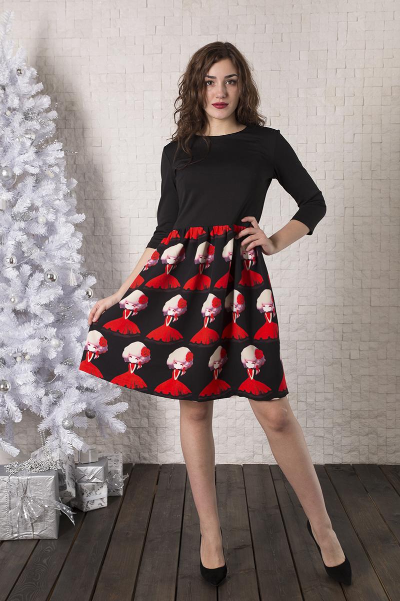 Платье Lautus, цвет: черный, красный. 931. Размер 46931Платье от Lautus полуприлегающего силуэта выполнено из эластичного трикотажного полотна. Модель с круглым вырезом горловины и втачными рукавами длиной 3/4.