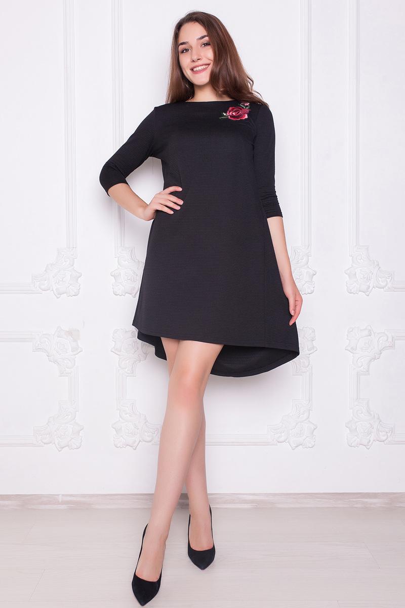 Платье Lautus, цвет: черный. 1093. Размер 461093Стильное платье от Lautus А-силуэта выполнено из трикотажного полотна. Вырез горловины - лодочка, рукава 3/4.