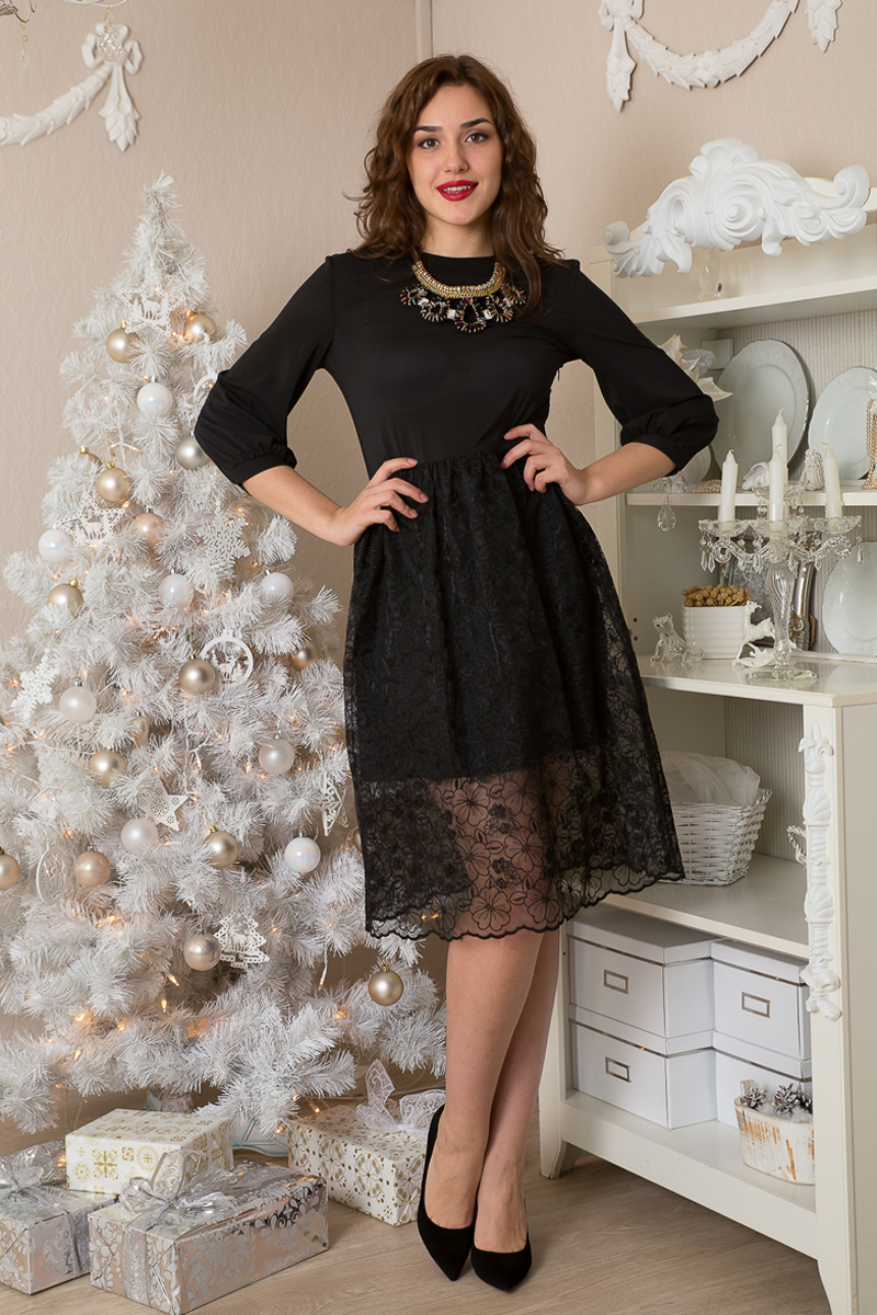 Платье Lautus, цвет: черный. 944. Размер 46944Платье от Lautus приталенного силуэта с рукавами 3/4. Нижняя юбка короткая, сверху прозрачная юбка на сборке.