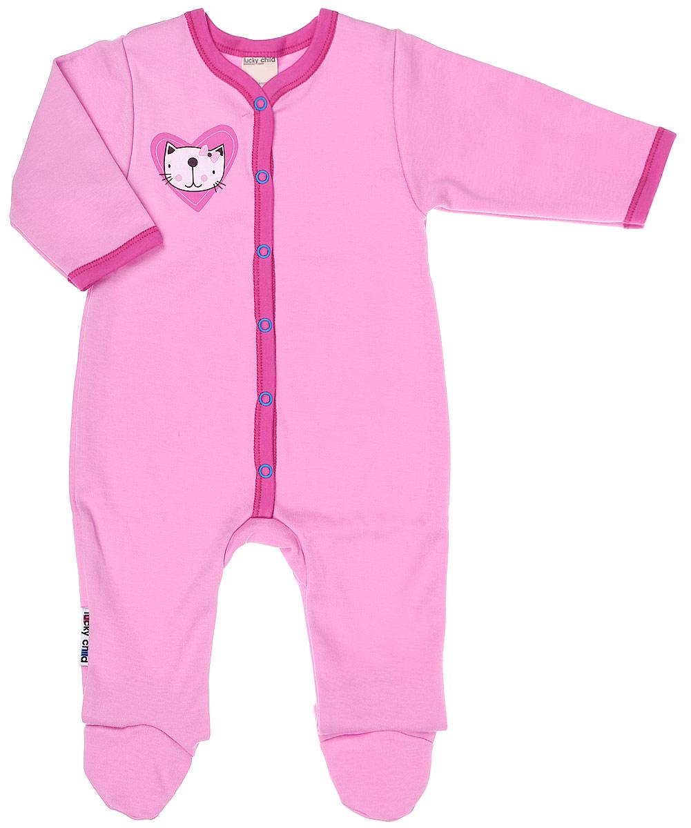 Комбинезон домашний детский Luky Child, цвет: розовый. А6-103/розовый. Размер 68/74А6-103/розовыйДетский комбинезон Lucky Child - очень удобный и практичный вид одежды для малышей. Комбинезон выполнен из натурального хлопка, благодаря чему он необычайно мягкий и приятный на ощупь, не раздражают нежную кожу ребенка и хорошо вентилируются, а эластичные швы приятны телу малыша и не препятствуют его движениям. Комбинезон с длинными рукавами и закрытыми ножками имеет застежки-кнопки, которые помогают легко переодеть младенца или сменить подгузник. С детским комбинезоном Lucky Child спинка и ножки вашего малыша всегда будут в тепле, он идеален для использования днем и незаменим ночью. Комбинезон полностью соответствует особенностям жизни младенца в ранний период, не стесняя и не ограничивая его в движениях!