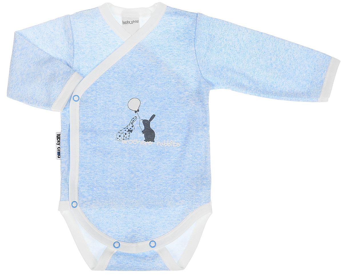 Распашонка детская Luky Child, цвет: голубой. А1-107/голубой. Размер 62/68А1-107/голубой