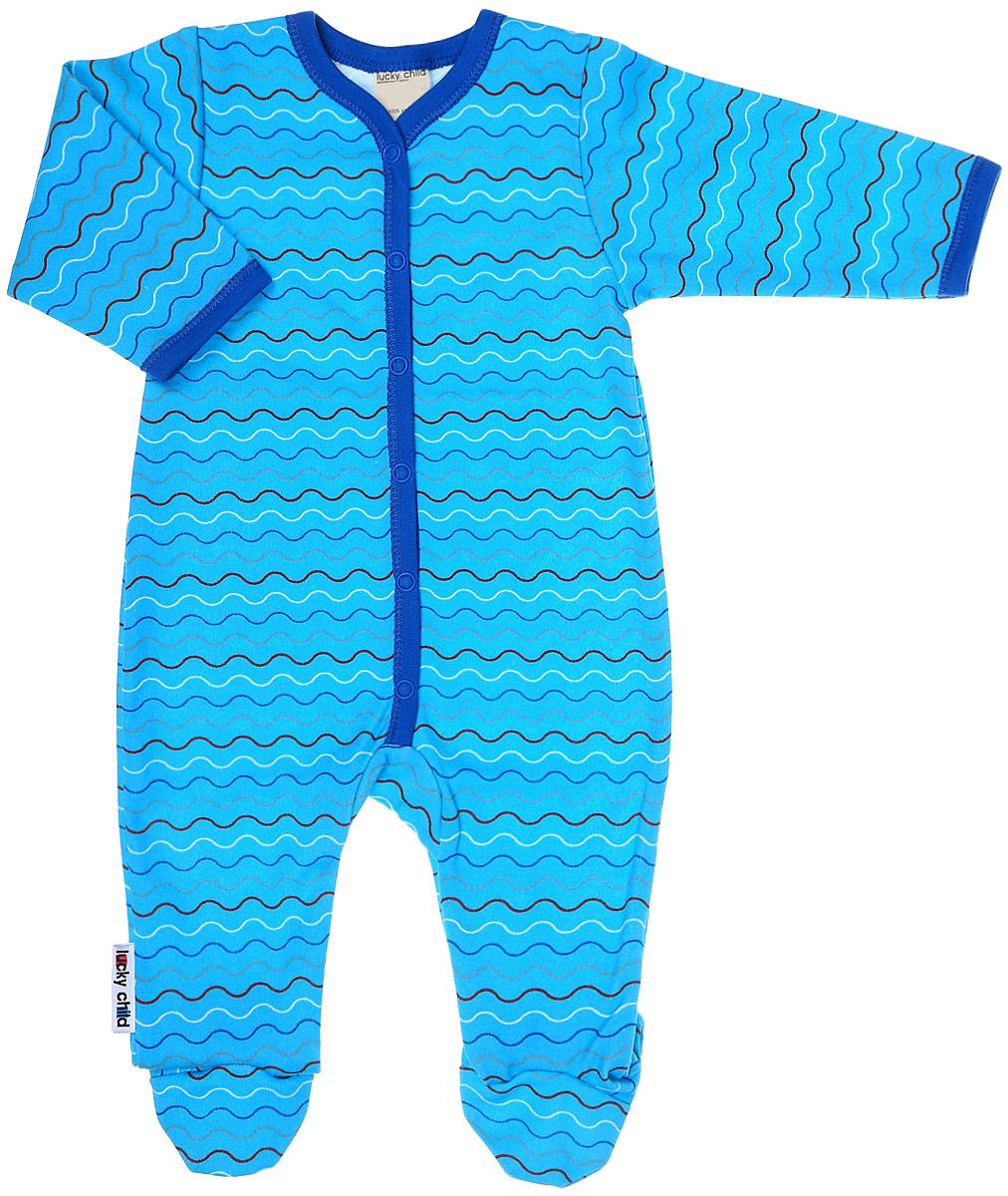 Комбинезон домашний детский Luky Child, цвет: голубой, синий. А5-103. Размер 80/86А5-103Детский комбинезон Lucky Child - очень удобный и практичный вид одежды для малышей. Комбинезон выполнен из натурального хлопка, благодаря чему он необычайно мягкий и приятный на ощупь, не раздражают нежную кожу ребенка и хорошо вентилируются, а эластичные швы приятны телу малыша и не препятствуют его движениям. Комбинезон с длинными рукавами и закрытыми ножками имеет застежки-кнопки от горловины до щиколоток, которые помогают легко переодеть младенца или сменить подгузник. С детским комбинезоном Lucky Child спинка и ножки вашего малыша всегда будут в тепле, он идеален для использования днем и незаменим ночью. Комбинезон полностью соответствует особенностям жизни младенца в ранний период, не стесняя и не ограничивая его в движениях!