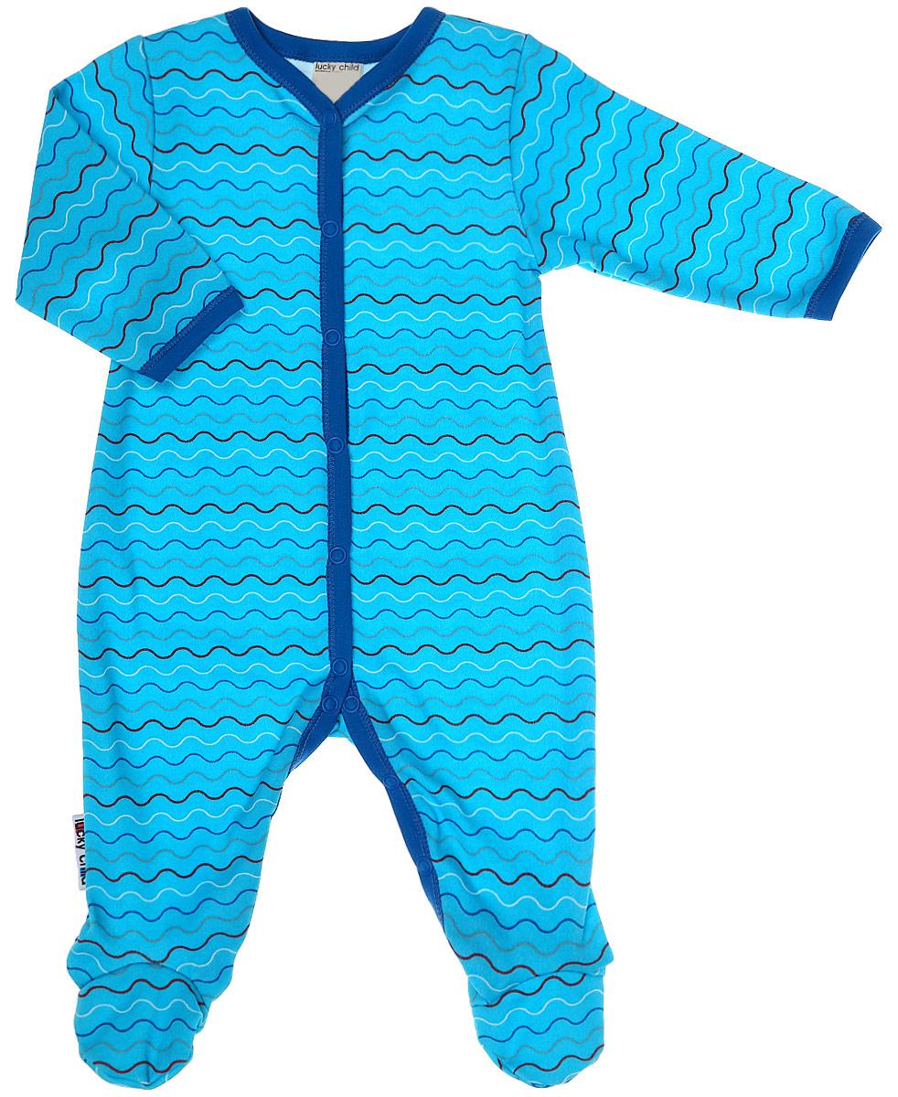 Комбинезон домашний детский Luky Child, цвет: голубой, синий. А5-101. Размер 62/68А5-101Детский комбинезон Lucky Child - очень удобный и практичный вид одежды для малышей. Комбинезон выполнен из натурального хлопка, благодаря чему он необычайно мягкий и приятный на ощупь, не раздражают нежную кожу ребенка и хорошо вентилируются, а эластичные швы приятны телу малыша и не препятствуют его движениям. Комбинезон с длинными рукавами и закрытыми ножками имеет застежки-кнопки от горловины до щиколоток, которые помогают легко переодеть младенца или сменить подгузник. С детским комбинезоном Lucky Child спинка и ножки вашего малыша всегда будут в тепле, он идеален для использования днем и незаменим ночью. Комбинезон полностью соответствует особенностям жизни младенца в ранний период, не стесняя и не ограничивая его в движениях!