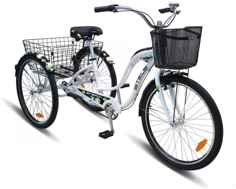 Велосипед трехколесный Stels Energy II 2016, грузовой, цвет: белый, рама 16, колесо 26262145