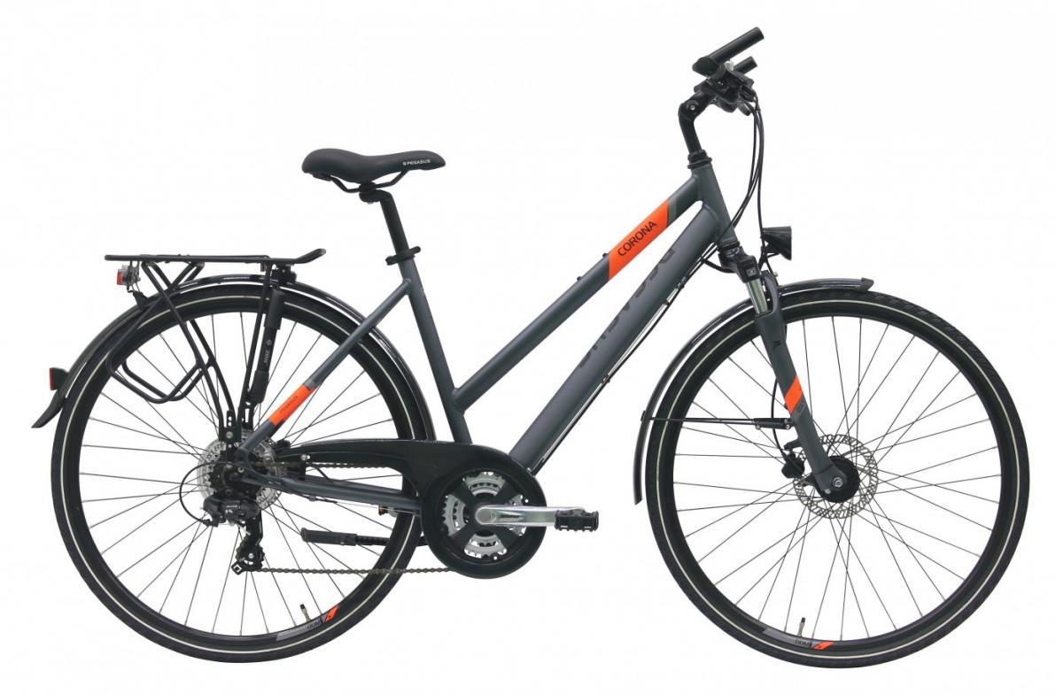 Велосипед городской Pegasus Corona Disc Trapez 21 2017, цвет: серый, рама 18, колесо 28270791