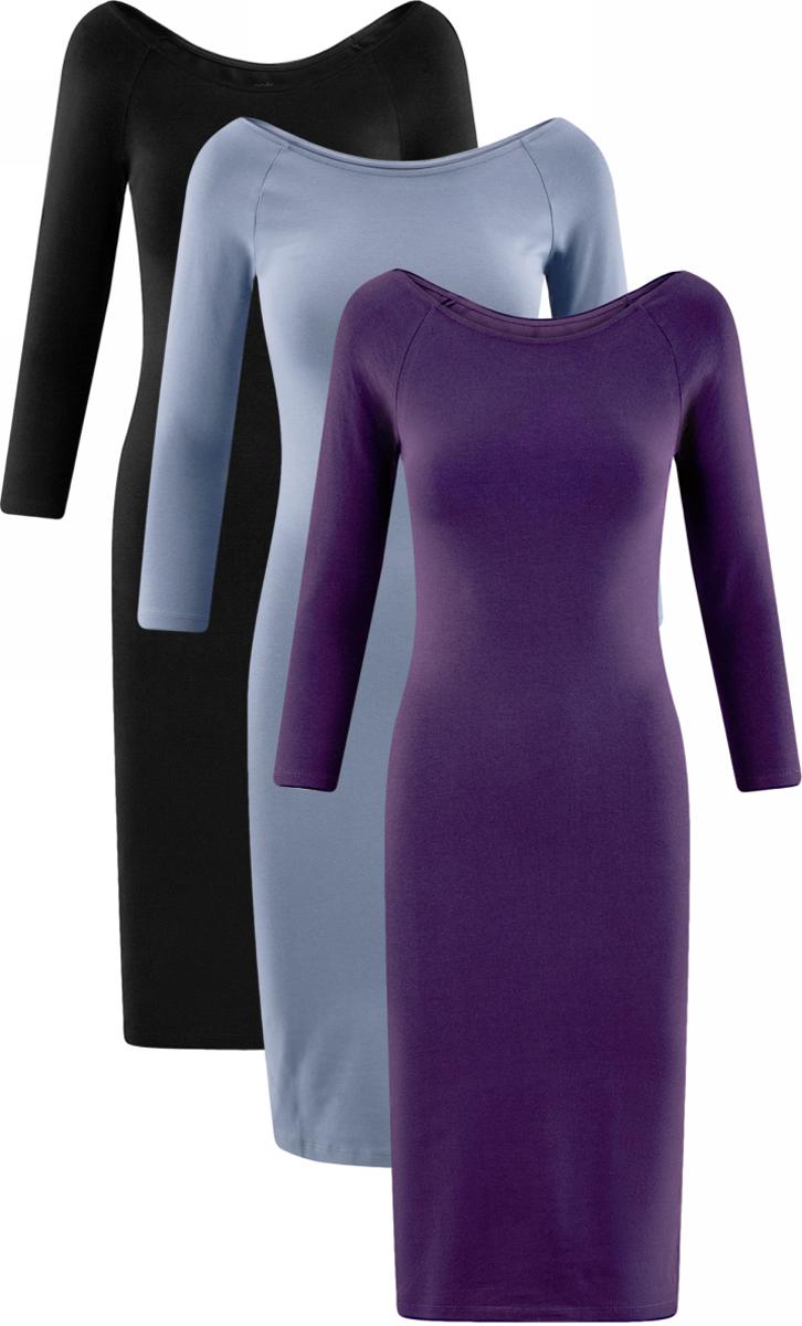 Платье oodji Ultra, цвет: черный, голубой, фиолетовый, 3 шт. 14017001T3/47420/19IIN. Размер S (44)14017001T3/47420/19IINСтильное платье oodji изготовлено из качественного эластичного хлопка. Облегающая модель с горловиной-лодочкой и рукавами 3/4. В наборе 3 платья.