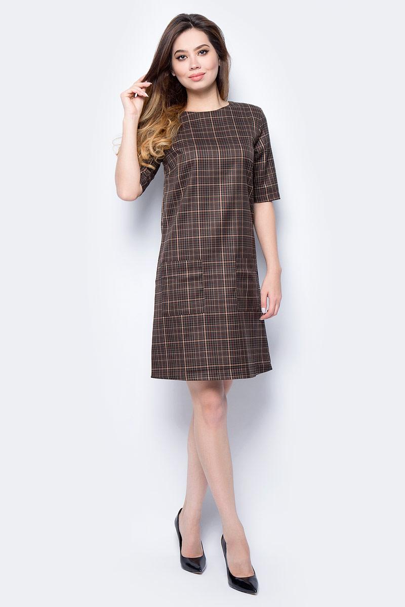 Платье женское F5, цвет: коричневый. 271004_brown check. Размер XS (42) платье f5 f5 ff101ewxbk30