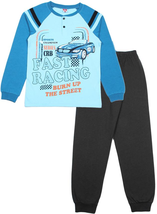 Пижама для мальчика Cherubino, цвет: голубой, бирюзовый, темно-серый. CAJ 5295. Размер 146 джемпер для мальчика s cool цвет серый белый оранжевый 363125 размер 146