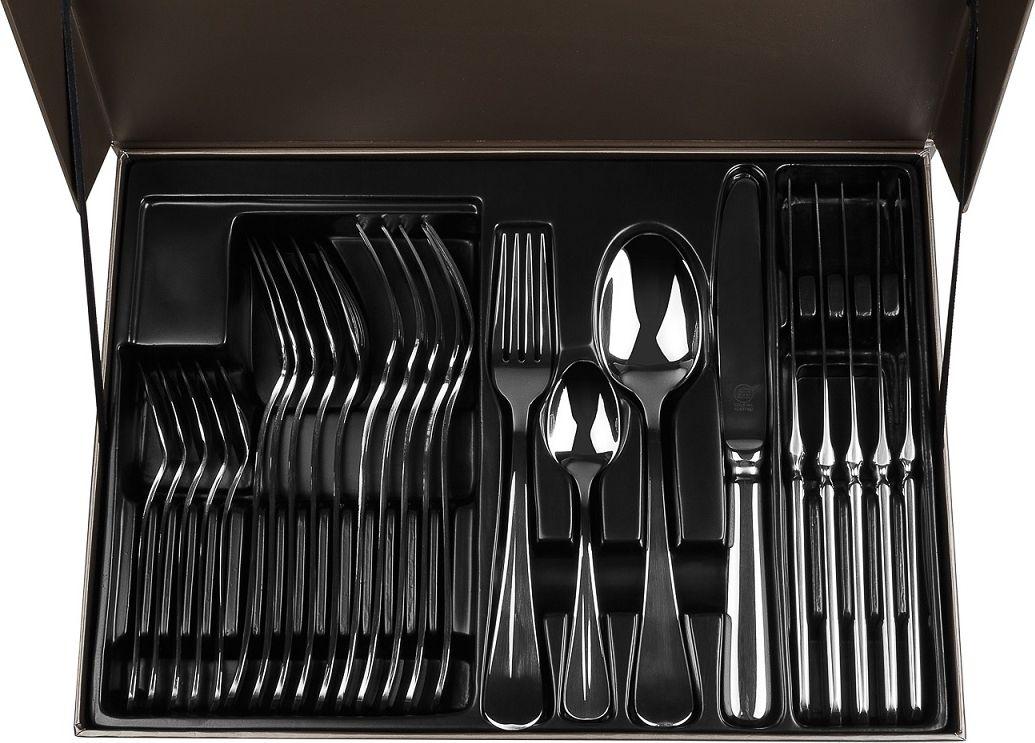 """Набор столовых приборов Carl Schmidt Sohn """"Baguette"""" изготовлен из высококачественной нержавеющей стали с глянцевой полировкой.  Набор столовых приборов """"Baguette"""" - это прекрасный выбор для сервировки стола. Набор на 6 персон состоит из 24 предметов: 6 столовых ложек, 6 вилок, 6 ножей, 6 чайных ложек, упакованных в подарочную коробку."""