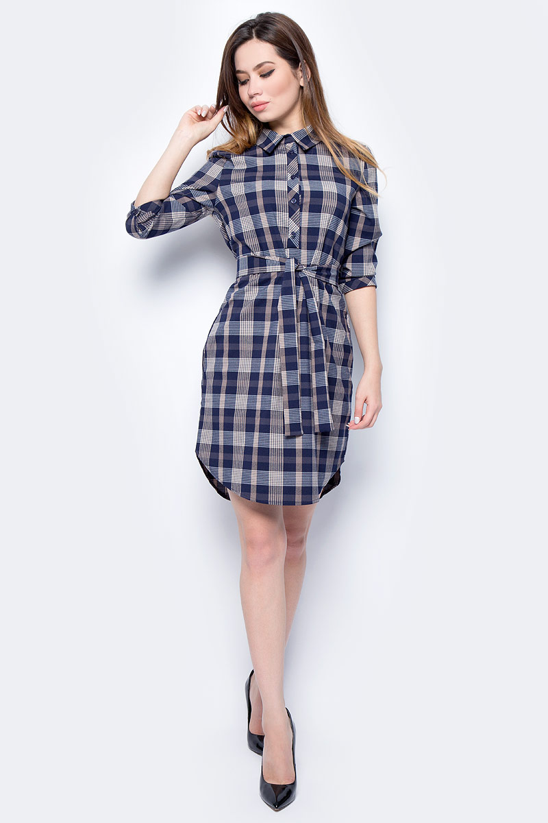 Платье женское F5, цвет: синий, серый. 271017_blue check. Размер L (48)271017_blue checkСтильное платье F5, выполненное из вискозы с добавлением полиэстера и лайкры, отлично дополнит ваш гардероб. Модель с отложным воротником и длинными рукавами застегивается спереди на пуговицы. Платье оформлено принтом в клетку. Рукава дополнены манжетами.