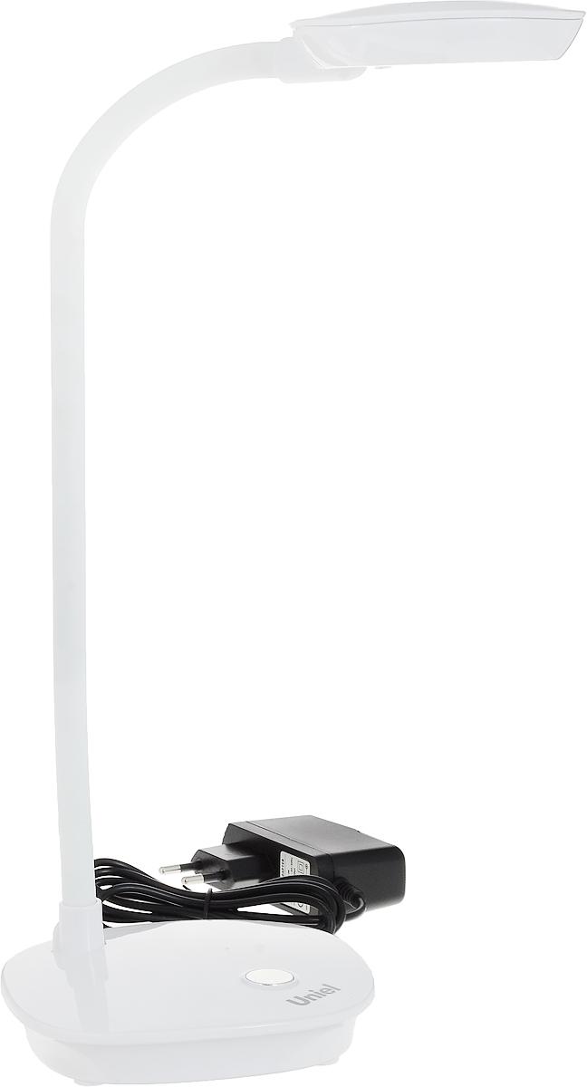 Светильник настольный Uniel TLD-518, светодиодный, цвет: белый, 4 Вт09108Светильник настольный торговой марки Uniel предназначен только для внутреннего освещения в жилых или общественных (офисы, магазины) помещениях. Светильник оборудован механическим выключателем. Направление света регулируется гибкой стойкой, которая обеспечивает поворот плафона в любом направлении. Отражатель имеет специальную форму для максимально комфортного освещения. В качестве источника света в светильнике применяются светодиоды, коэффициент цветопередачи не менее 70лм/Вт. Светодиодный источник света гарантирует не менее 30 000 часов безупречной работы настольного светильника. Светильник предназначен для работы в сети переменного тока с номинальным рабочим напряжением 220 В и частотой 50 Гц, при температуре окружающей среды от 0 до +45°С и относительной влажности не выше 85%. Продукция сертифицирована и соответствует требованиям нормативных документов. Характеристики: Материал корпуса: пластик, металлСветовой поток: 400 лмЦветовая температура: 4500 КЭквивалентная мощность лампы накаливания: 40 ВтУпаковка: коробка