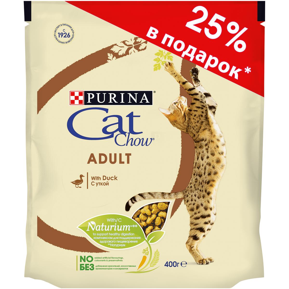 Корм сухой Purina Cat Chow для взрослых кошек, с уткой, 400 г сухой корм cat chow для кошек с чувствительным пищеварением и чувствительной кожей 15кг