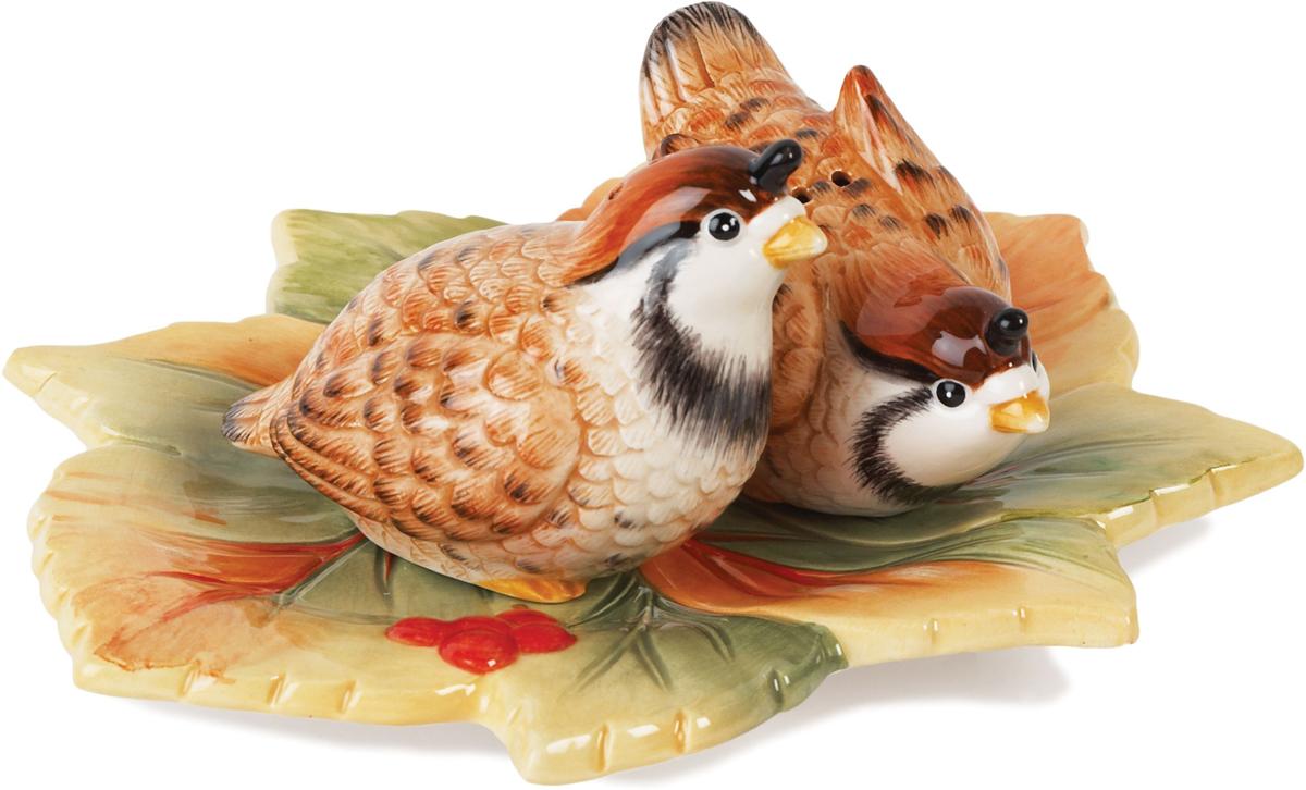 Набор для специй Fitz and Floyd Новогоднее изобилие, 3 предмета29-332Две птички на красивом блюдце в виде листа клена подойдут для каждодневного использования, придавая трапезе нотку торжественности. Красота в деталях! Рекомендуется бережная ручная мойка с использованием безабразивных моющих средств.