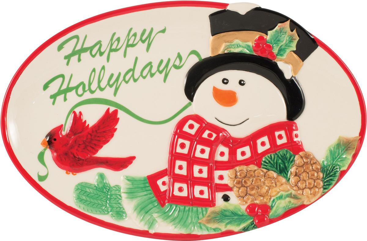Fitz and Floyd Блюдо с пожеланием Снеговик в лесу49-469Вдохновленное новогодними красками, блюдо с пожеланием из серии Снеговик в лесу отFitz and Floyd отличается изысканным стилем. Оно непременно украсит праздничный стол. Тщательно изготовленные из керамики, каждая деталь раскрашена вручную, красочна и уникальна. Размер: 25 х 15 х 2,5 см. Рекомендуется бережная ручная мойка с использованием безабразивных моющих средств.