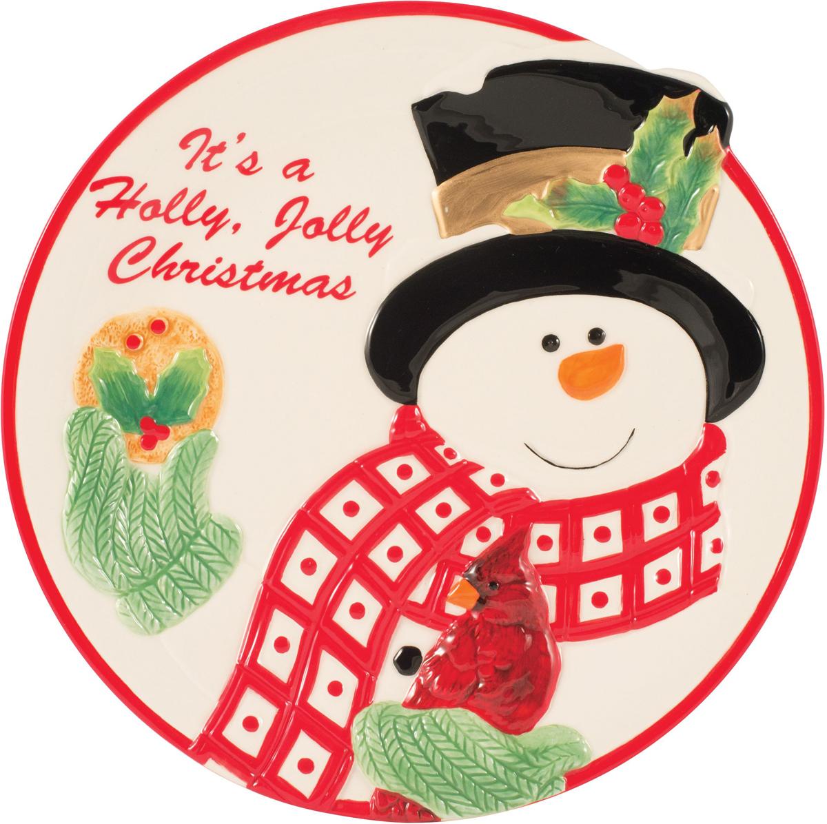 """Тарелка для печенья Fitz and Floyd """"Снеговик в лесу"""", изготовленная из  керамики, сочетает в себе  изысканный дизайн с максимальной функциональностью. Красочность  оформления придется по  вкусу тем,  кто предпочитает утонченность и изящность.  Оригинальная тарелка украсит сервировку вашего стола и подчеркнет  прекрасный вкус хозяйки, а  также станет отличным подарком.  Диаметр (по верхнему краю): 25 см."""