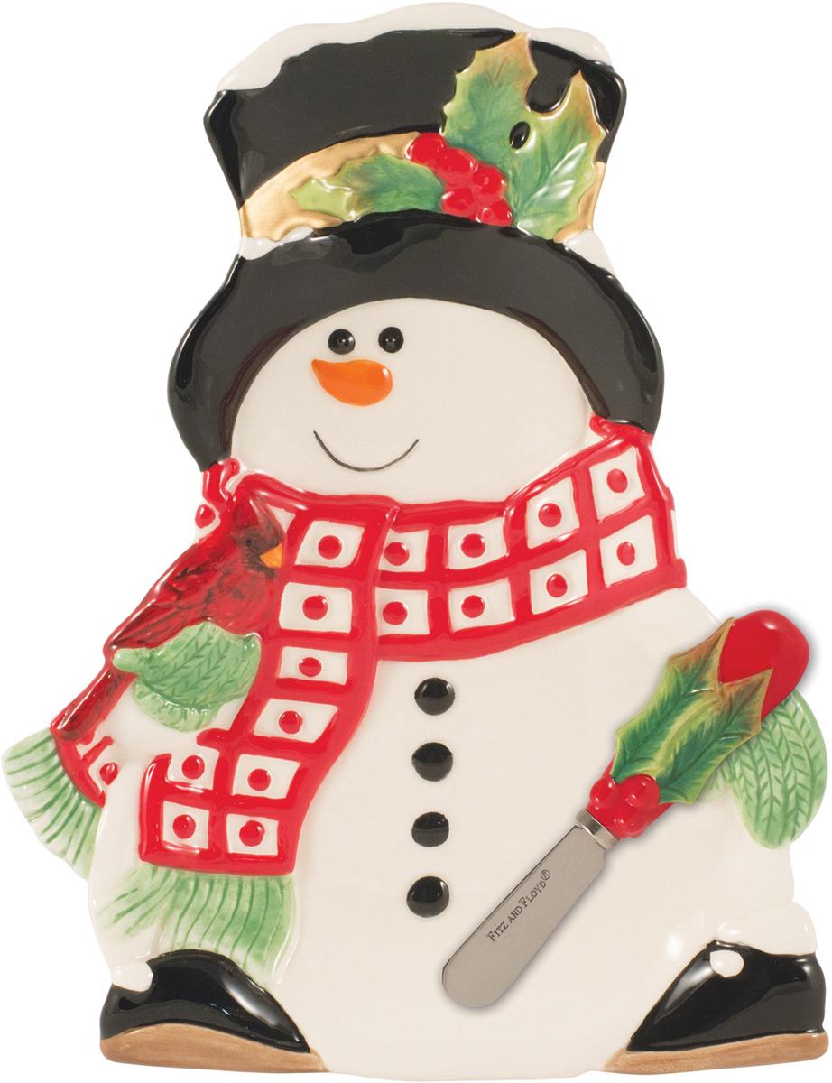 """Набор для торта Fitz and Floyd """"Снеговик в лесу"""" состоит из блюдца и ножа. Блюдце выполнено из керамики в виде снеговика. Лезвие ножа  изготовлено из нержавеющей стали, ручка - из керамики с рельефным рисунком. Набор идеален для подачи тортов, пирогов и другой выпечки.   Яркий новогодний дизайн сделает набор изысканным украшением праздничного стола. Рекомендуется бережная ручная мойка с использованием безабразивных моющих средств."""