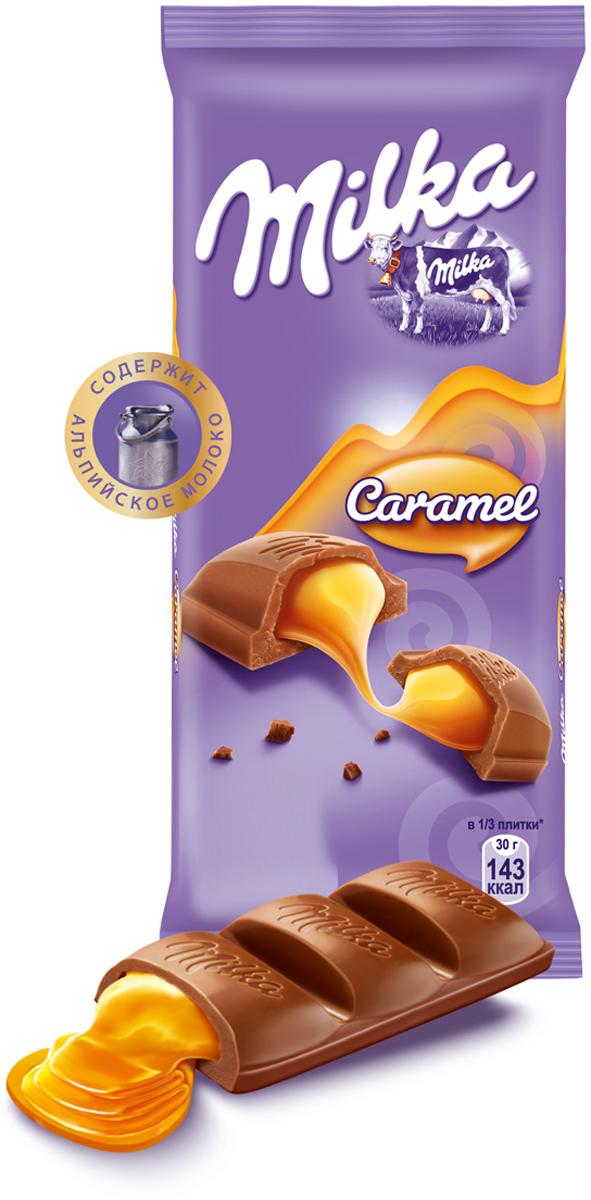 Milka шоколад молочный с карамельной начинкой, 90 г milka oreo батончик rieger молочный шоколад с кусочками печенья 37 г