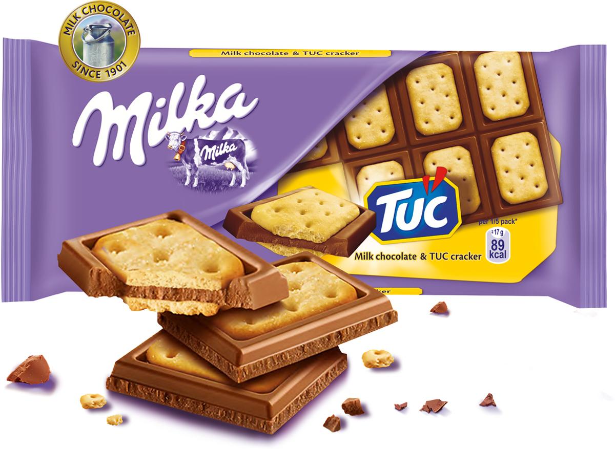 цена на Milka шоколад молочный с соленым крекером Tuc, 87 г
