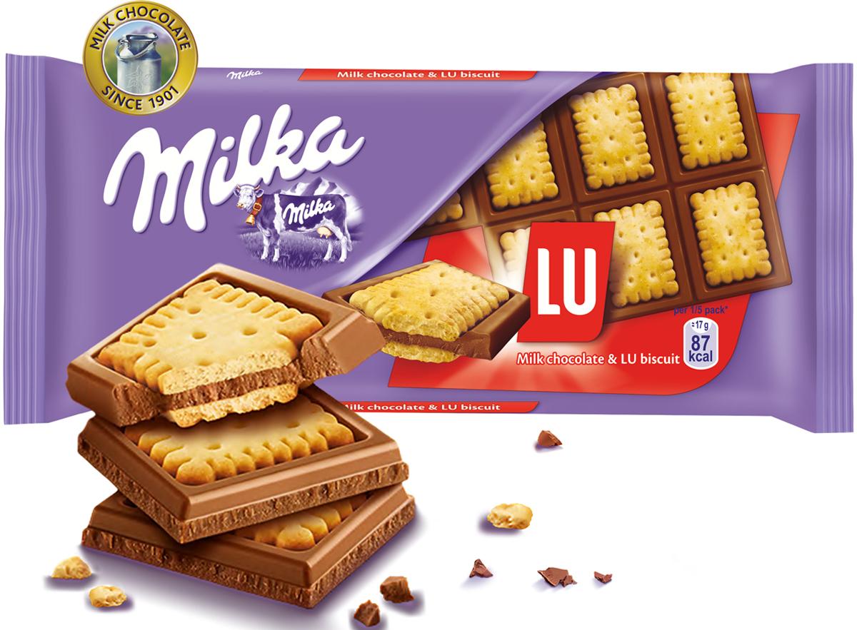 Milka шоколад молочный с печеньем Lu, 87 г райская птица молочный шоколад 38