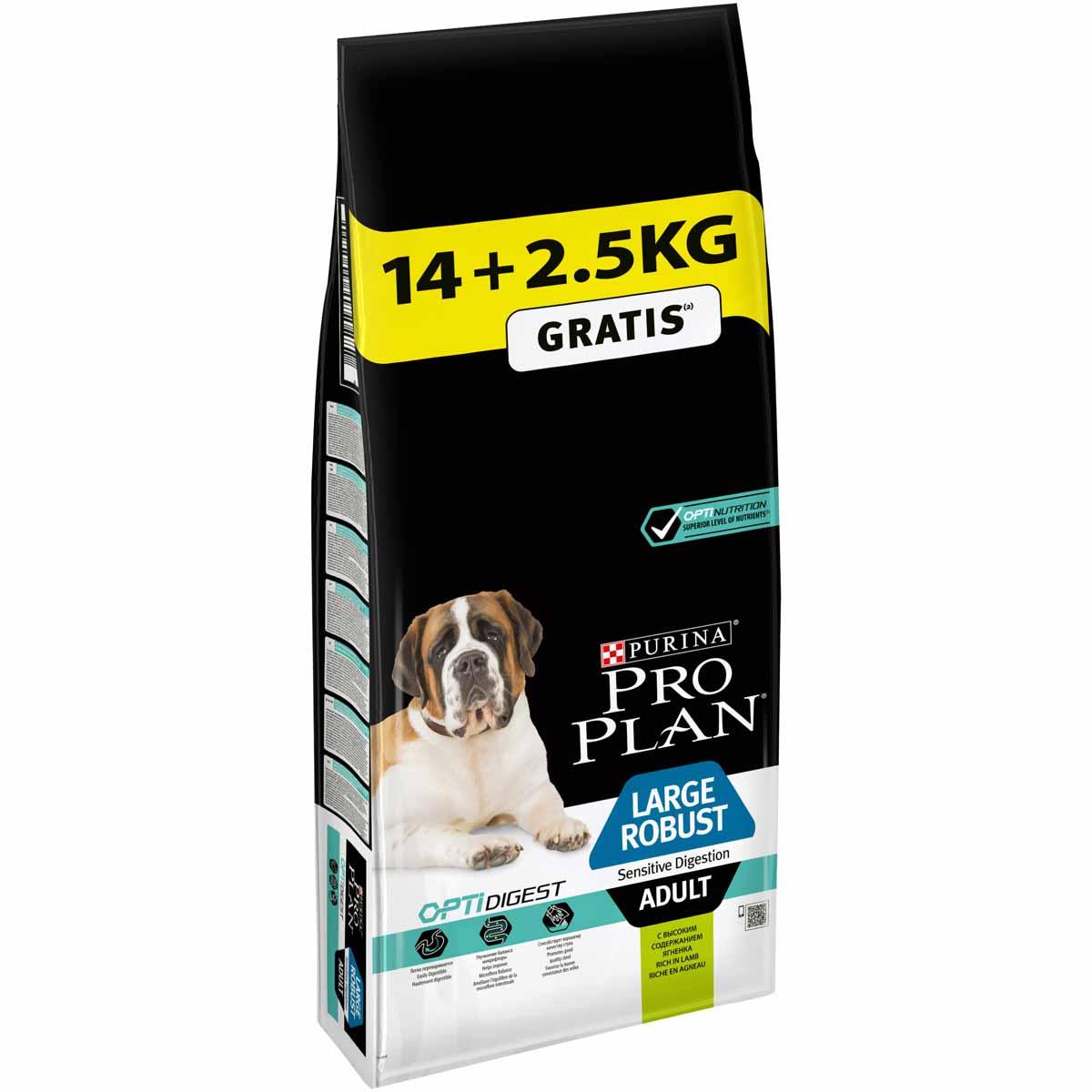 Корм сухой Purina Pro Plan Optihealth для взрослых собак крупных пород с мощным телосложением и с чувствительным пищеварением, с ягненком и рисом, 16,5 кг00-00002511Оптимальное питание является основой для здоровья и благополучия. Разработанный нашими ветеринарами и диетологами корм Purina Pro Plan Optihealth с комплексом OPTIHEALTH обеспечивает самое современное питание, которое оказывает долгосрочное влияние на здоровье собаки. Комплекс OPTIHEALTH представляет сочетание специально отобранных питательных веществ для собак разных размеров и телосложения, который отвечает их особым потребностям и помогает сохранить отличное состояние.Преимущества корма:Особое сочетание компонентов для здоровья зубов и десен;Сочетание основных питательных веществ, которое помогает поддерживать здоровье суставов вашей собаки при активном образе жизни;Высокое содержание антиоксидантов, которые помогают замедлять процессы старения;Специальная рецептура для собак крупных пород с мощным телосложением; Содержит кусочки высококачественного куриного мяса.Расстройства пищеварения у собак: кто виноват и что делать. Статья OZON Гид