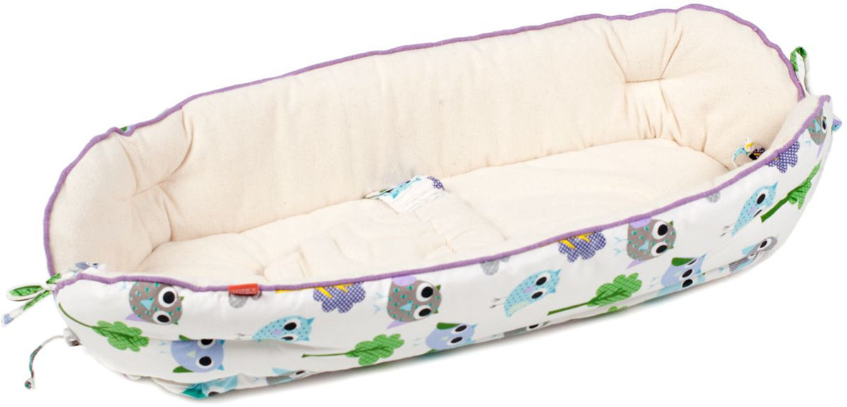HoneyMammy Кокон Organic для новорожденного для совместного сна Owls