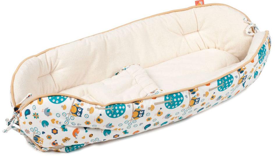 HoneyMammy Кокон Organic для новорожденного для совместного сна Owls and Birds