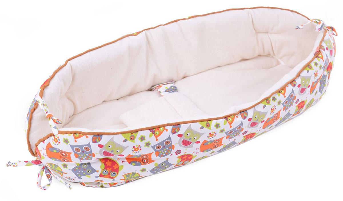 HoneyMammy Кокон Organic для новорожденного для совместного сна Orange Owls