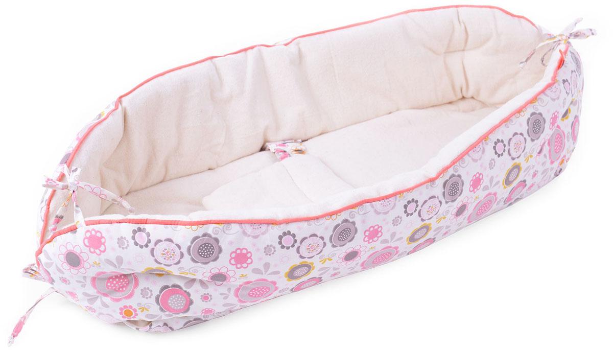 HoneyMammy Кокон Organic для новорожденного для совместного сна Pink Bubbles