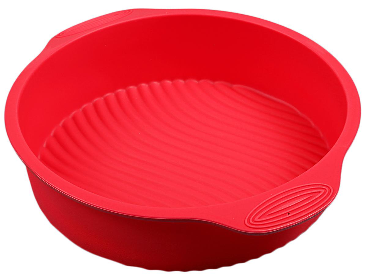 Форма для выпечки Доляна Круг с ручками, цвет: красный, 28,5 х 25 х 6 см118940_красный