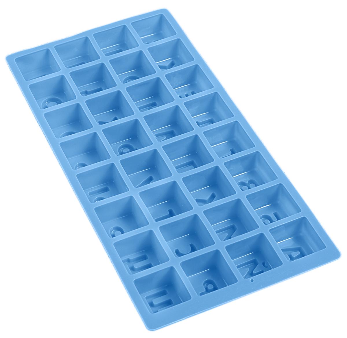 Форма для выпечки Доляна Алфавит, цвет: голубой, 35 х 18 х 3 см, 32 ячейки123155