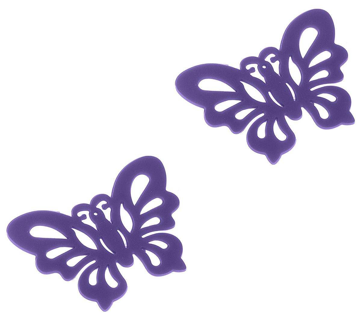 Набор подставок под горячее Доляна Бабочка, цвет: фиолетовый, 12 x 9 см, 2 шт148200_фиолетовыйНабор Доляна Бабочка состоит из 2 силиконовых подставок под горячее, выполненных в форме бабочек. Силиконовая подставка под горячее - практичный предмет, который обязательно пригодится в хозяйстве. Изделие поможет сберечь столы, тумбы, скатерти и клеенки от повреждения нагретыми сковородами, кастрюлями, чайниками и тарелками.