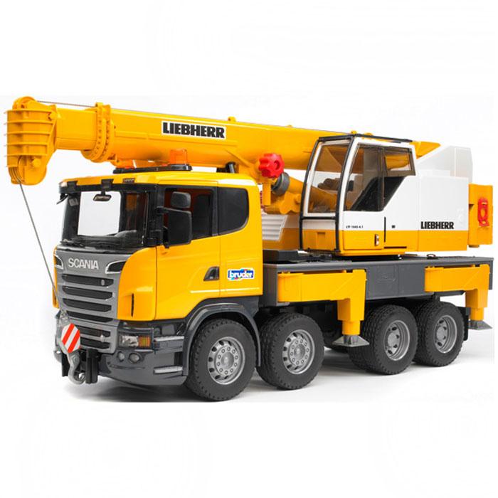 Автокран Bruder Scania, цвет: черный, желтый, серый bruder bruder автокран с модулем со световыми и звуковыми эффектами man tgs