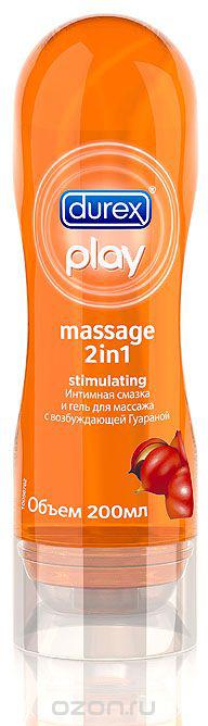 DUREX Play Massage 2in1 Stimulating с возбуждающей Гуараной Интимная смазка и гель для массажа 200мл визит презервативы хай тек 30% дольше с кольцами с анестетиком n3