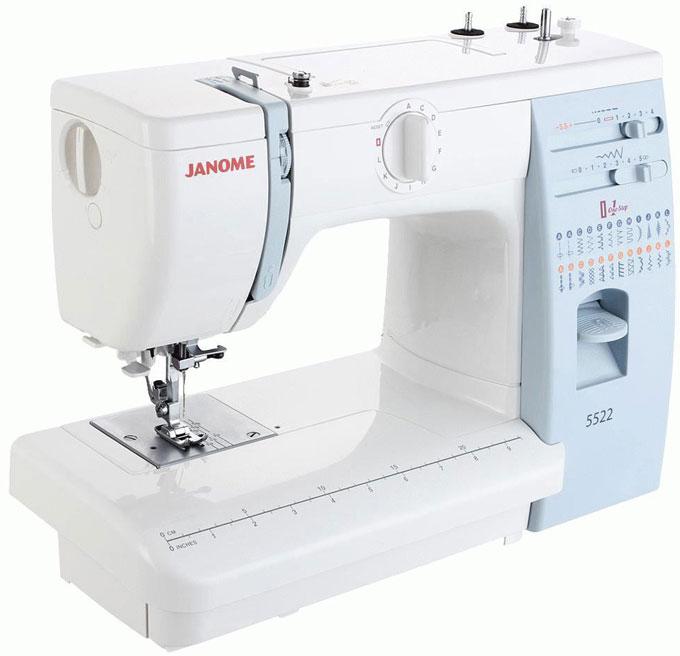 Janome 5522 швейная машина5522Бытовая настольная электромеханическая швейная машина Janome 5522 с вертикальным челноком качающегося типа приятно порадует вас как своей ценой, так и тем, что это одна из самых неприхотливых и надежных швейных машин. Есть машины тонкие и деликатные, есть такие, которые требуют к себе очень вдумчивого отношения, а есть швейная машина Janome 5522, сидя за которой даже начинающая швея сможет быстро пошить довольно сложное швейное изделие без особого труда. С помощью этой машины вы не только быстро научитесь шить, но и сможете в дальнейшем использовать ее как для ремонта и шитья одежды, так и для в качестве основного инструмента небольшого домашнего бизнеса.