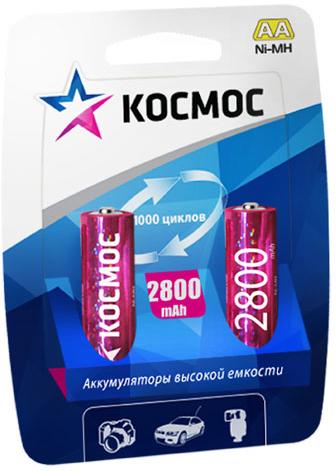 Аккумулятор Ni-MH Космос, тип АА (R6), 2800mAh, 2 шт аккумулятор d ansmann r20 10000 mah ni mh бочка 2 шт 5030642