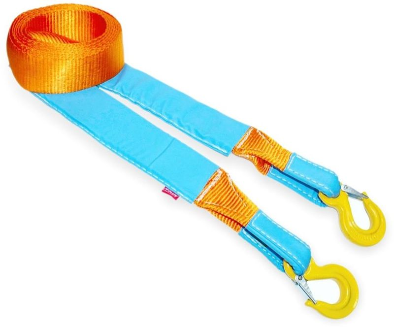 Ремень буксировочный эластичный Tplus Стандарт, крюк/крюк, 9 т, 5 мT001943Ремень буксировочный Tplus служит для эвакуации автомобиля. Минимальная разрывная нагрузка (MBS): 9 т.Безопасная рабочая нагрузка (SWL): 2 т/Длина: 5 м.Ширина ленты: 75 мм.Материал ленты: полиамид.Защита петель: экокожа.Защита швов: экокожа.Эластичность (удлинение при нагрузке): 20%. Исполнение: крюк/крюк. Крюк с усиленной защелкой (SF8): 2/16 т (безопасная рабочая нагрузка SWL/минимальная разрывная нагрузка MBS). Применяется для а/м массой* от 1.5 до 2.5 т.*Масса а/м = снаряженная масса а/м + 100 кг (+20% при эвакуации а/м из грязи).Если а/м оснащен дополнительным оборудованием (силовой бампер, лебёдка и т. п.), то масса а/м = снаряженная масса а/м + 100 кг + масса дополнительно установленного навесного оборудования (+20% при эвакуации а/м из грязи).