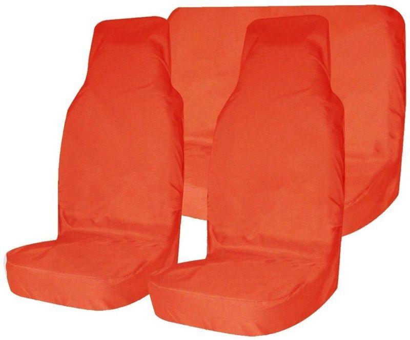 """Комплект защитных чехлов """"Tplus"""", на передние и задние сиденья, цвет: оранжевый, 3 шт + мешок для хранения"""