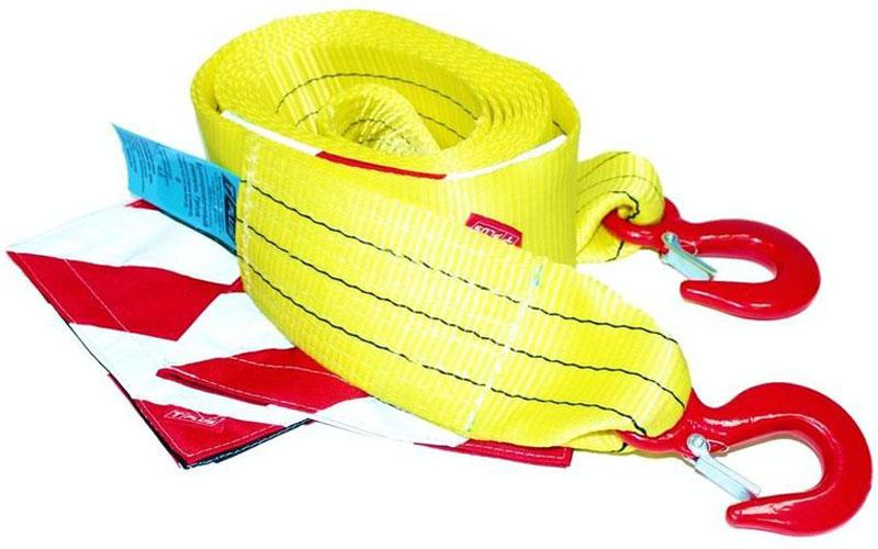 Ремень буксировочный Tplus, крюк/крюк, 8/13 т, 5 мT002267Минимальная разрывная нагрузка (MBS): 13 т Безопасная рабочая нагрузка (SWL): 8 т Длина: 5 м Ширина ленты: 90 ммМатериал ленты: полиэстер Исполнение: крюк/крюк Крюк: 1.5/15 т (безопасная рабочая нагрузка SWL/минимальная разрывная нагрузка MBS) Применяется для а/м со снаряженной массой до 4.5 т Флажок со световозвращающей лентой: 2 шт., жестко зафиксированы на ремне Гарантия: 18 месяцев