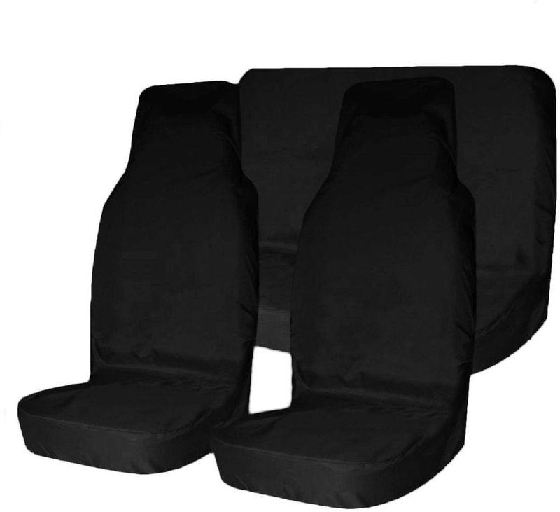 """Комплект защитных чехлов """"Tplus"""", на передние и задние сиденья, цвет: черный, 3 шт + мешок для хранения"""
