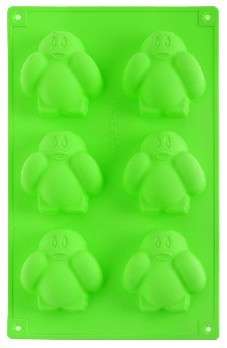 Форма для выпечки Доляна Пингвинята, цвет: салатовый, 17,5 х 27,5 х 2,5 см, 6 ячеек630810