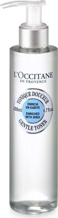 L`Occitane Нежный тоник для лица Карите, 200 мл453414Нежный освежающий тоник для бережного удаления макияжа и тонизирования кожи, обогащенный маслом Карите и цветочными водами, освежает и успокаивает кожу, дарит ощущение комфорта и свежести. Подходит для всех типов кожи.