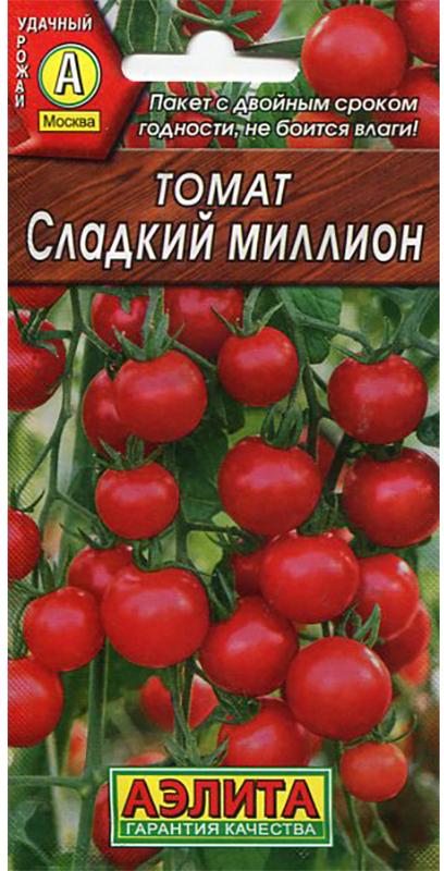 Семена Аэлита Томат. Сладкий миллион4601729009990Раннеспелый сорт, от всходов до созревания плодов - 95-100 дней. Рекомендуется для выращивания в теплицах. Растение индетерминантное, высотой 180-200 см. Плод округлый, гладкий, красный, массой 15-20 г. Сорт отличается высокой завязываемостью плодов, урожайностью (5-7 кг/м2) и обильным плодоношением в неблагоприятных условиях. Ценность сорта: плоды в кисти созревают одновременно. Сорт устойчив к фитофторозу. Рекомендуется для употребления в свежем виде и для цельноплодного консервирования.Посев на рассаду в середине марта. Пикировка в фазе 1-2-х настоящих листьев. Посадка рассады - в середине мая под пленку, вначале июня - в открытый грунт. Возрастрассады - 60-65 дней (в фазе пяти-семи настоящих листьев). Схема посадки 60 х 50 см. Уважаемые клиенты! Обращаем ваше внимание на то, что упаковка может иметь несколько видов дизайна. Поставка осуществляется в зависимости от наличия на складе.