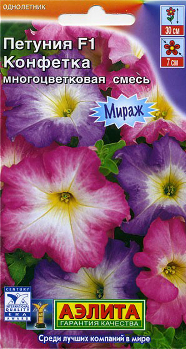 Семена Аэлита Петунья многоцветковая. Конфетка4601729044687Однолетник. Высота растения 30 см. Диаметр 7 см. Смесь представлена неприхотливыми гибридами из американской серии «Мираж». Они сочетают высокую устойчивость к неблагоприятной погоде и крупный размер цветка диаметром 7-8 см. Формируют пышные кусты 25-35 см высотой с обильным, длительным цветением. Используется в любом цветочном оформлении - на клумбах, в бордюрах, в висячих корзинах, в балконных контейнерах. Выращивается через рассаду.Посев семян на рассаду. Семена в гранулах! Гранулы располагают на поверхности почвы, не заделывая их, хорошо увлажняют из распылителя. При попадании влаги на гранулу оболочка должна раствориться. Посевы накрывают стеклом для сохранения постоянной влажности до полных всходов. Февральским посевам требуется дополнительная подсветка. Сеянцы пикируют в фазе одного-двух настоящих листьев. В фазе пяти-шести листьев проводят формирующую прищипку. Рассаду высаживают в открытый грунт, когда минует угроза заморозков.Товар сертифицирован.Уважаемые клиенты! Обращаем ваше внимание на то, что упаковка может иметь несколько видов дизайна. Поставка осуществляется в зависимости от наличия на складе.