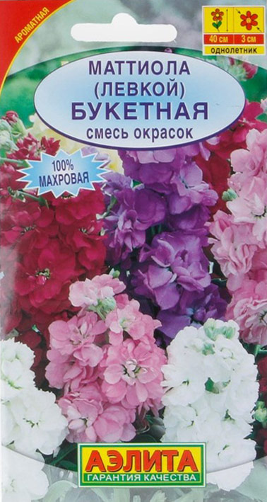Семена Аэлита Маттиола. Букетная. Смесь окрасок4601729073052Отведите махровой маттиоле почетное место возле скамейки, у террасы или беседки, где вы оцените главное ее достоинство - чарующий аромат.Растение цветет намного дольше, чем его немахровая родственница маттиола двурогая, и смотрится гораздо декоративней. Компактный куст 45 см высотой с густомахровыми плотными соцветиями пригоден также для контейнерного выращивания на балконе. Соцветия используют для срезки в небольшие букеты. Посев семян на рассаду в марте. При появлении всходов желательно снизить температуру и дать больше света. Пикировка в горшочки через 10-12 дней после всходов. Левкой холодостоек, его можно высаживать в открытый грунт с начала мая. Можно посеять непосредственно в открытый грунт в конце апреля - начале мая.Для продолжительного и обильного цветения растениям необходим своевременный полив, регулярная прополка, рыхление и подкормка минеральными удобрениями.Уважаемые клиенты! Обращаем ваше внимание на то, что упаковка может иметь несколько видов дизайна. Поставка осуществляется в зависимости от наличия на складе.