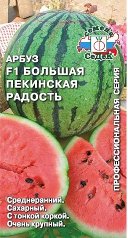 Среднеранний (от всходов до созревания плодов 80-85 дней) гибрид для открытого грунта и пленочных укрытий.  Растение среднерослое. Плод округлый, крупный, массой от 8-12 до 16 кг, кора тонкая и прочная, зеленая с черно-зелеными полосками. Мякоть ярко-красная, зернистая, очень сладкая, сахаристость более 12%.  Урожайность с растения 24-32 кг.  Ценность гибрида: устойчивость к комплексу болезней, крупноплодность, высокие вкусовые и товарные качества, транспортабельность, сохраняет товарные качества при хранении.  Назначение универсальное.Уважаемые клиенты! Обращаем ваше внимание на то, что упаковка может иметь несколько видов дизайна. Поставка осуществляется в зависимости от наличия на складе.