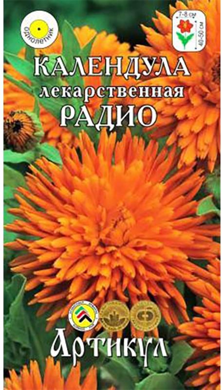 Семена Артикул Календула. Радио лекарственная4607089748142Растение высотой 40-50 см. Соцветия махровые, крупные (диаметром 7-8 см), ярко-оранжевой окраски. Язычковые цветки лучистой формы (свернутые в трубочку и заострённые). Цветение обильное, начинается через 45-55 дней от посева. Растение сравнительно неприхотливое, светолюбивое, холодостойкое (переносит заморозки до -5°С),незасухоустойчивое, легко размножается самосевом. Всходы появляются через 10-14 дней. Почвы предпочитает дренированные, известкованные, среднего плодородия, заправленные с осени фосфором. До массового цветения подкармливают комплексным удобрением (с интервалом 10-14 дней). Отцветшие соцветия удаляют. В сухую погоду необходим полив. Растение целиком является фитонцидным (отпугивающим нематод и других вредителей), для чего его измельчают во время цветения и перелопачивают с заражённой почвой.Хорошо смотрится в группах, массивах и миксбордерах, в сборных цветниках, клумбах и рабатках. Широко используют на срезку (в воде соцветия стоят 4-5 дней) и для лекарственных целей.Товар сертифицирован.Уважаемые клиенты! Обращаем ваше внимание на то, что упаковка может иметь несколько видов дизайна. Поставка осуществляется в зависимости от наличия на складе.